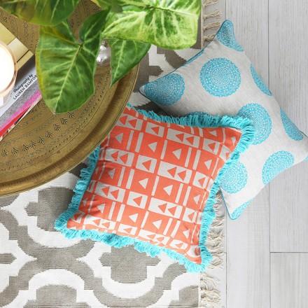 orange_triangular_block_print_cushion
